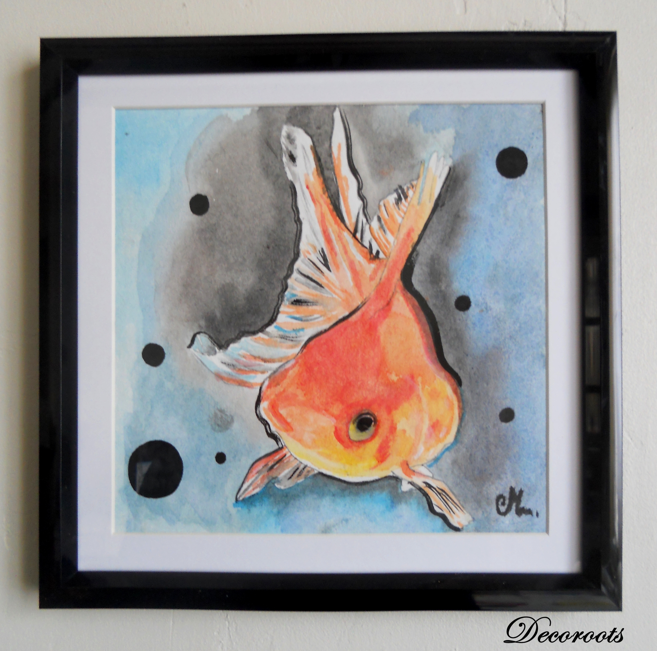 Red fish watercolor decorative frame