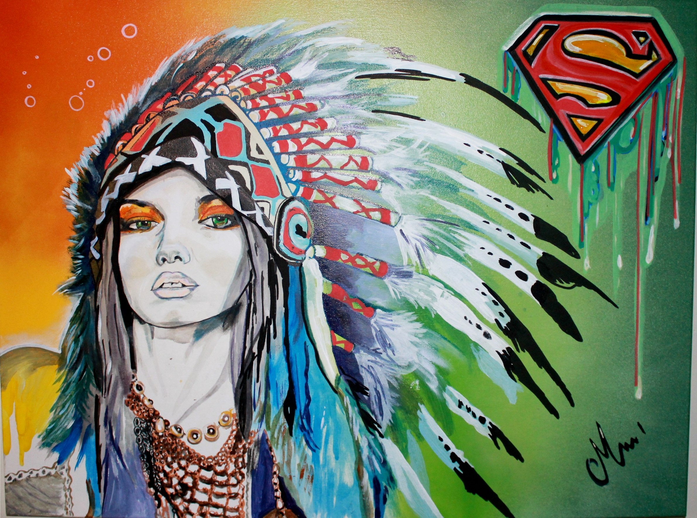 painting art contemporain: warriors we are superman