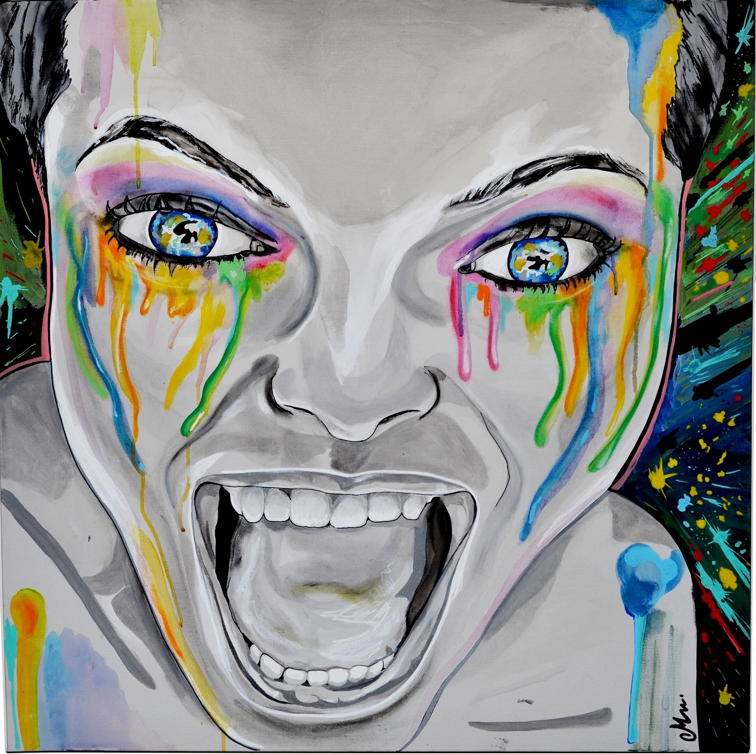 Contemporary art painting monster