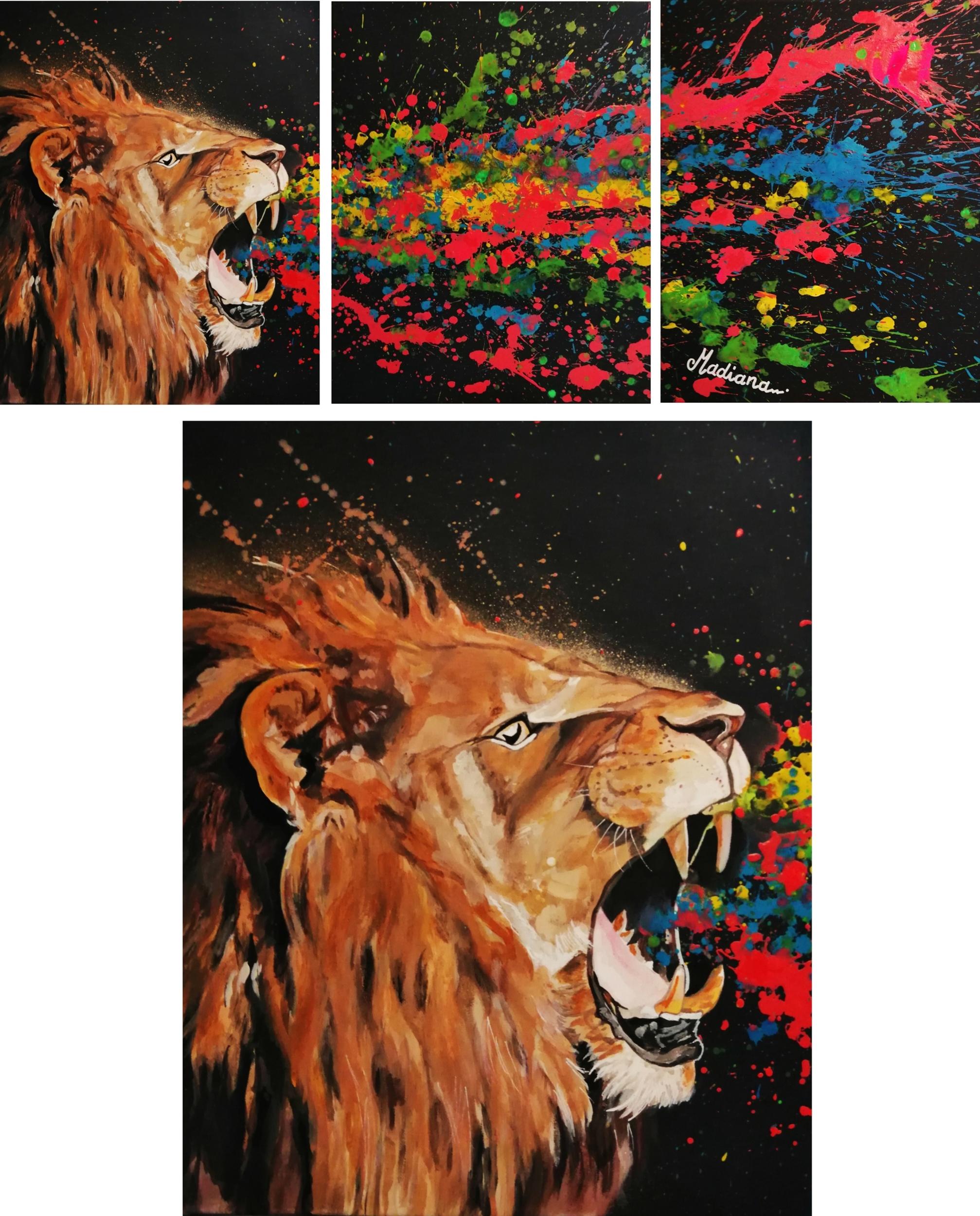 triptych painting listen me lion version