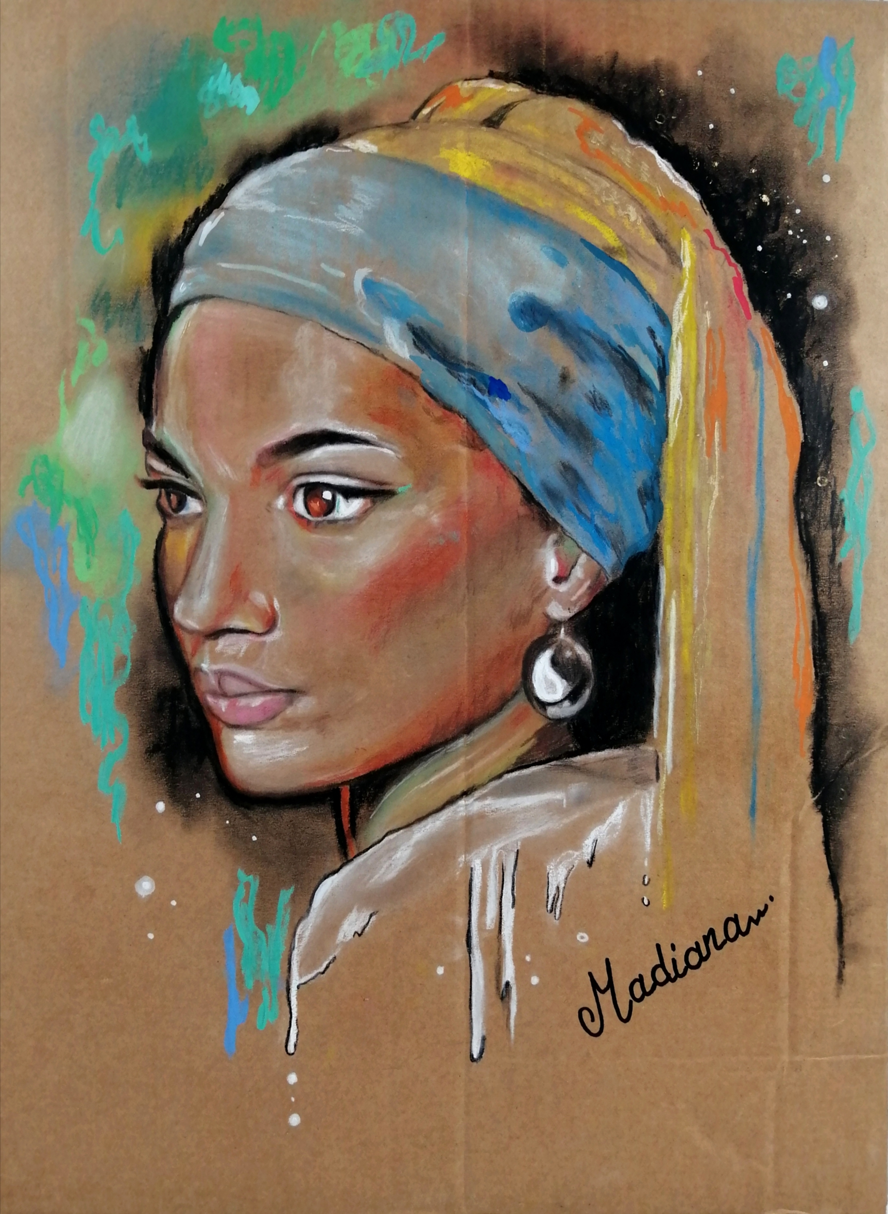 Poster contemporary art black woman africa space universe