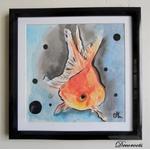 cadre déco aquarelle peinture poisson rouge japonisant