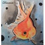 cadre déco aquarelle poisson rouge