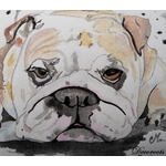 cadre déco bulldog chien aquarelle contemporain design