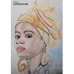 cadre déco aquarelle martiniquaise antillaise africaine traditionnelle ethnique femme portrait foulard