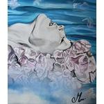tableau au fil de leau art artiste contemporain femme fleur visage