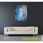 tableau art contemporain femme eau mer fleur nature