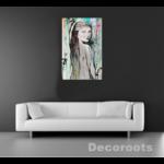 tableau design femme multicolore peint à la main visage noir et blanc art cascade