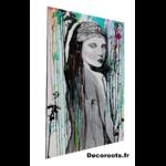 tableau design femme multicolore peint à la main visage noir et blanc art
