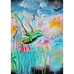 tableau art design contemporain nature femme oiseau colibri 3