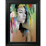 dessin art contemporain artiste noir et blanc multicolore femme portrait cadre