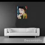 tableau art contemporain portrait femme multicolore home sweet home 5