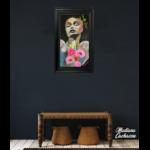 dessin art contemporain portrait ange fleurs multicolore