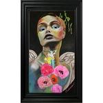 dessin art contemporain ange fleurs nature street multicolore cadre