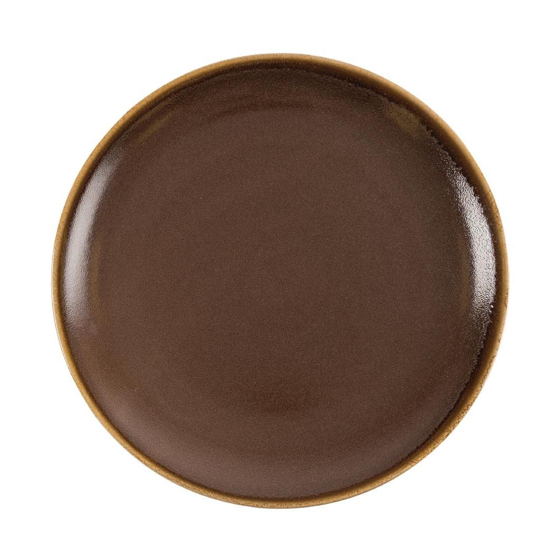 Assiette plate ronde couleur écorce Olympia Kiln 280mm