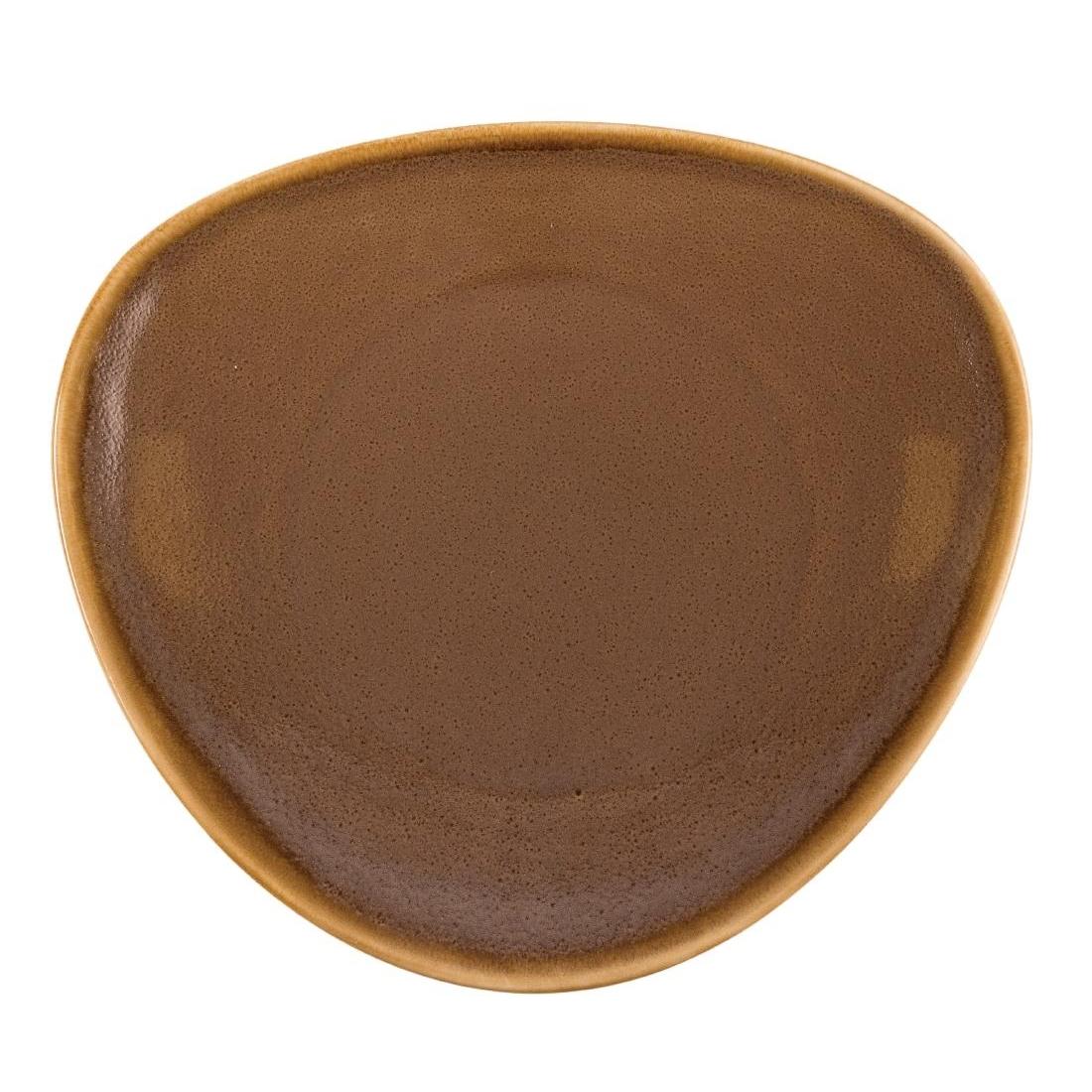 Assiette triangulaire couleur écorce Olympia Kiln 280mm