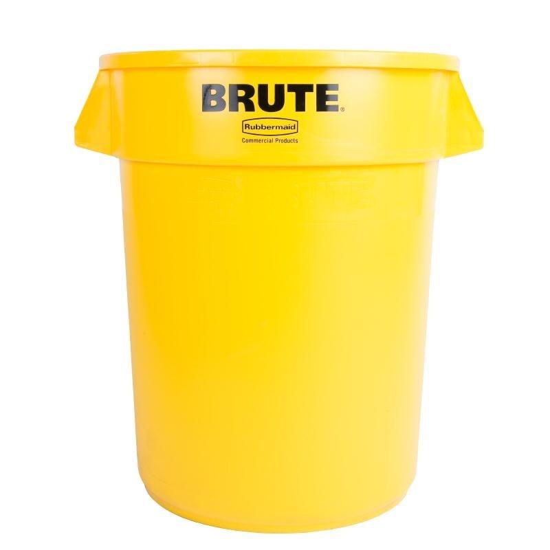 Conteneur Brute Rubbermaid rond jaune 121L
