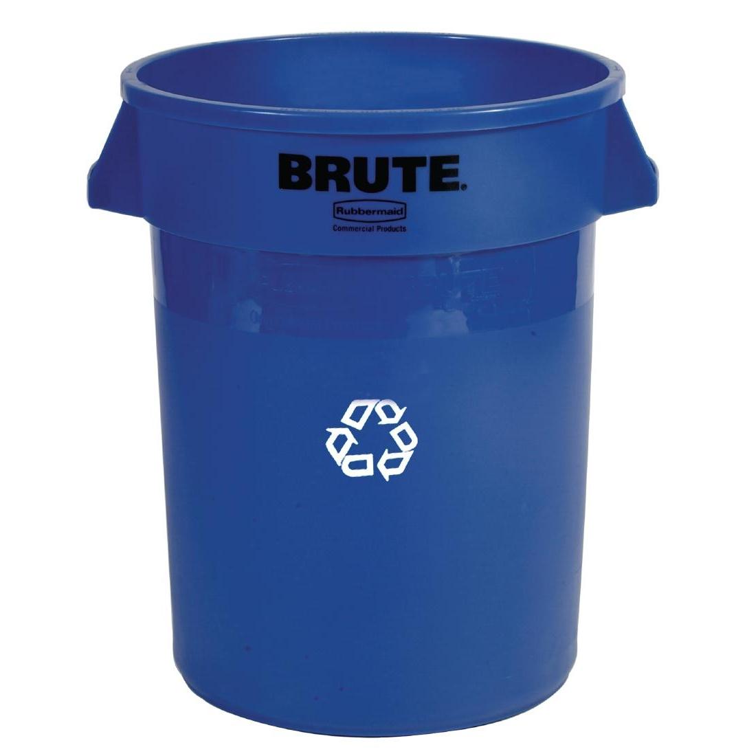 Conteneur Brute Rubbermaid 121L rond bleu avec pictogramme de tri sélectif