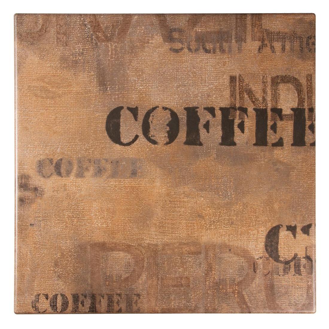 Plateau de table carré Werzalit coffee 700mm