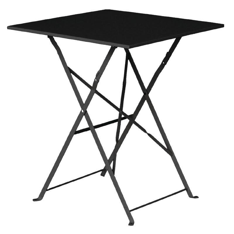 Table de terrasse carrée en acier noire 600mm