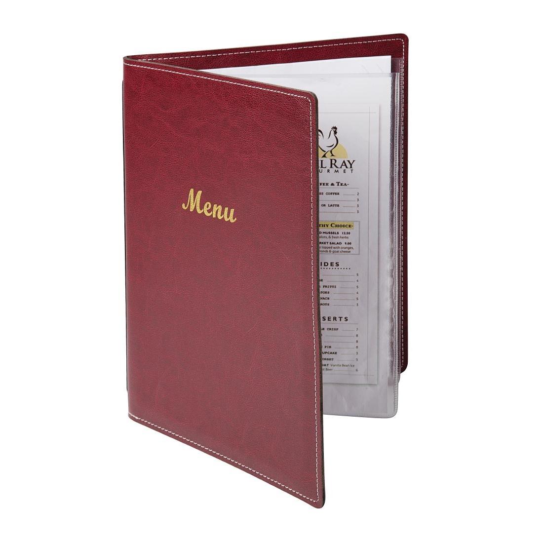 Protège-menus en simili cuir bordeaux A4