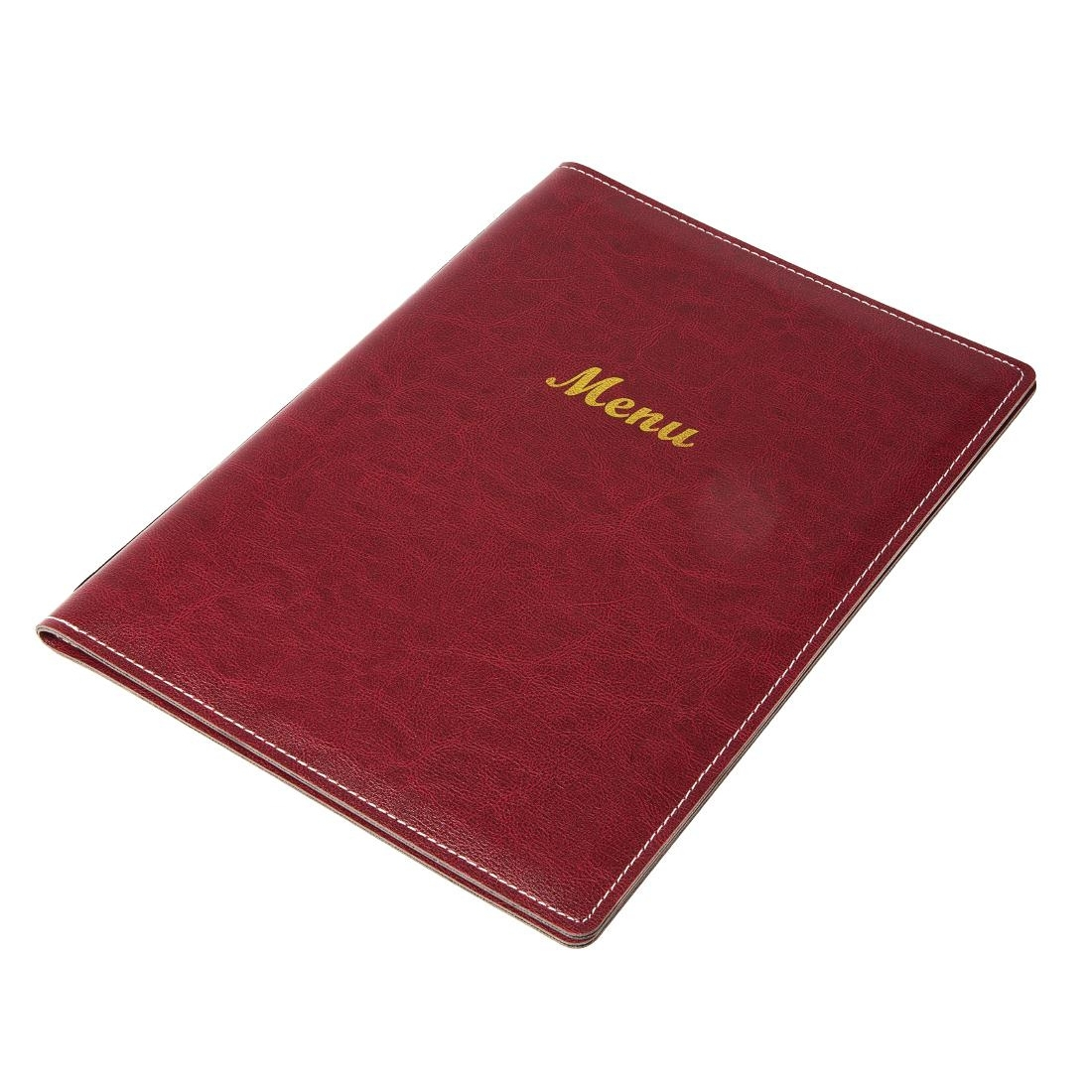 Protège-menus en simili cuir bordeaux A5