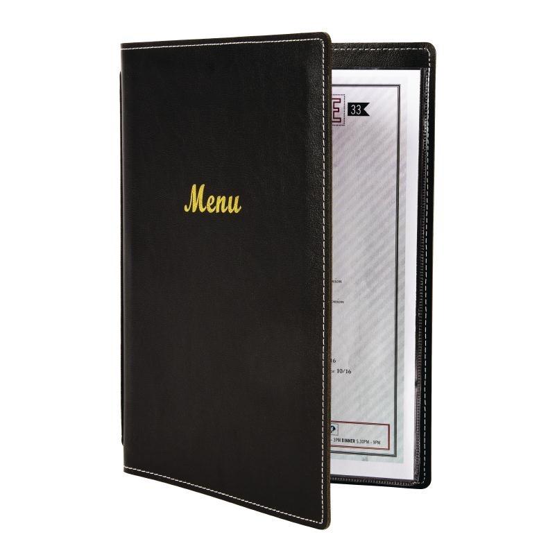 Protège-menus en simili cuir noir A4