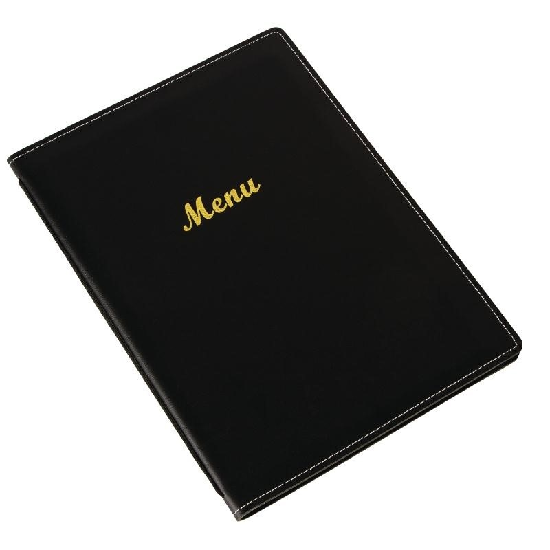Protège-menus en simili cuir noir A5