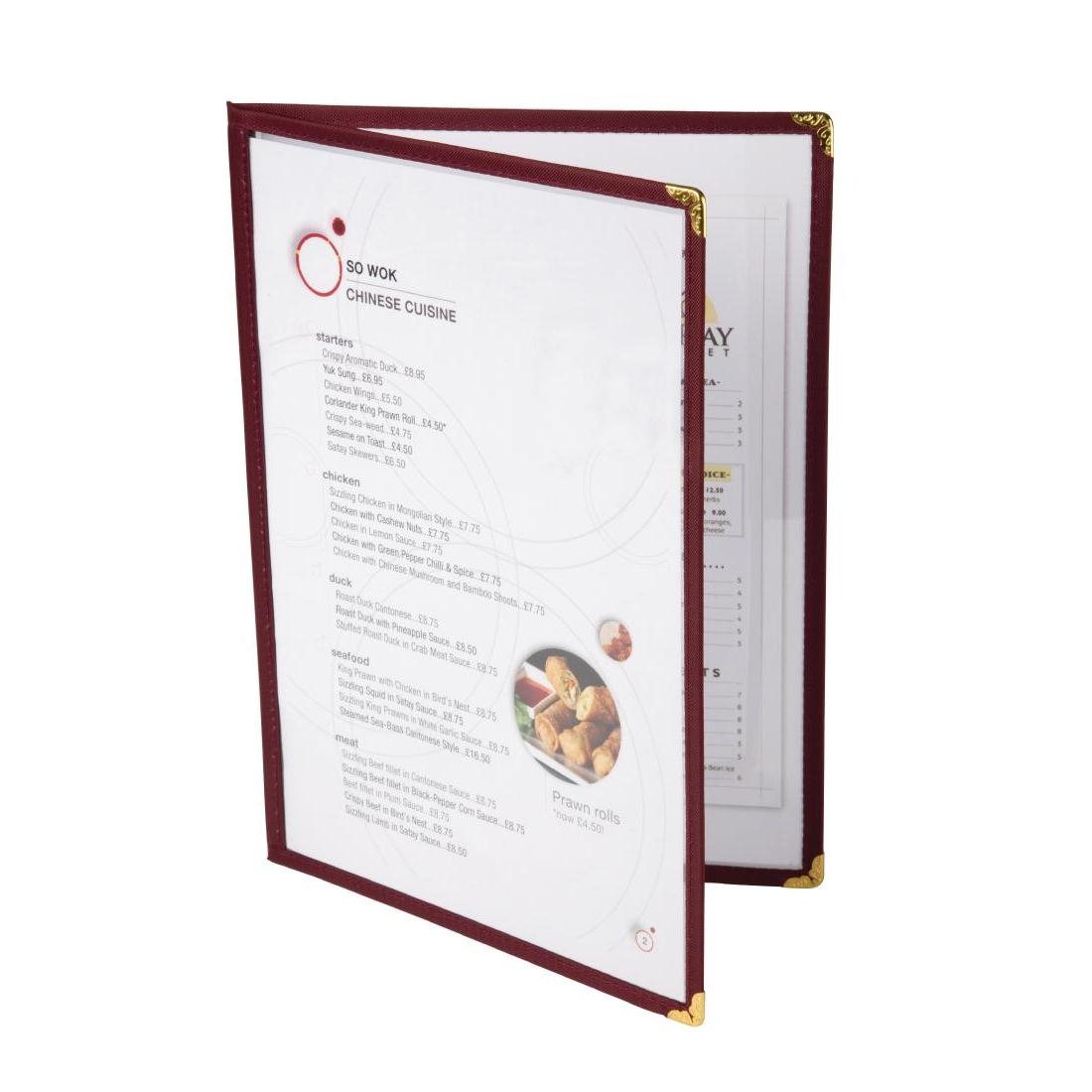 Protège-menus style américain A5 quatre face bordeaux