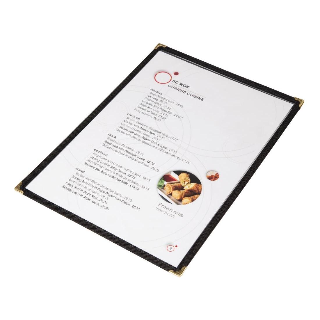Protège-menus style américain A5 double face noir