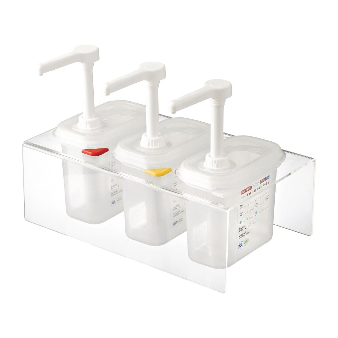 Lot de 3 distributeurs de sauce Araven GN 1/9 transparents 1.5L