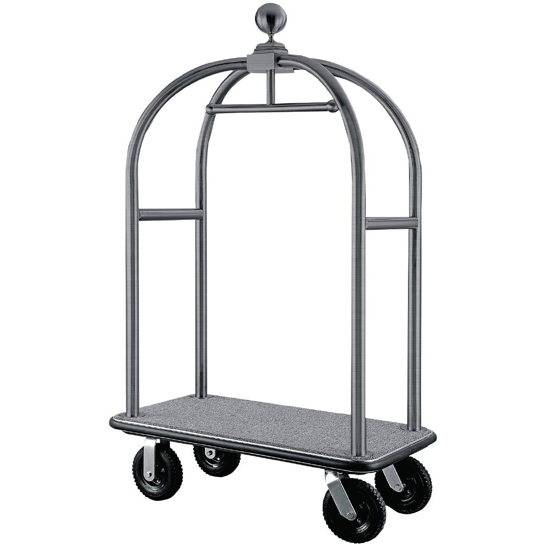 Chariot à bagages en inox brossé
