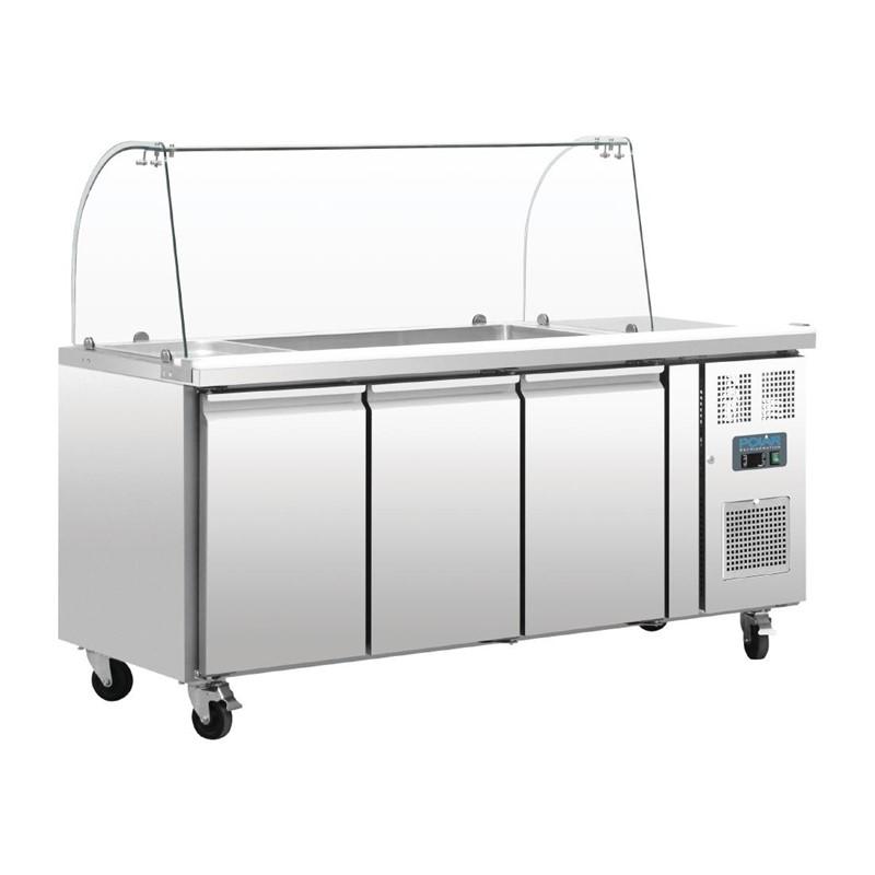 Comptoir de préparation réfrigéré GN avec pare-haleine 3 portes