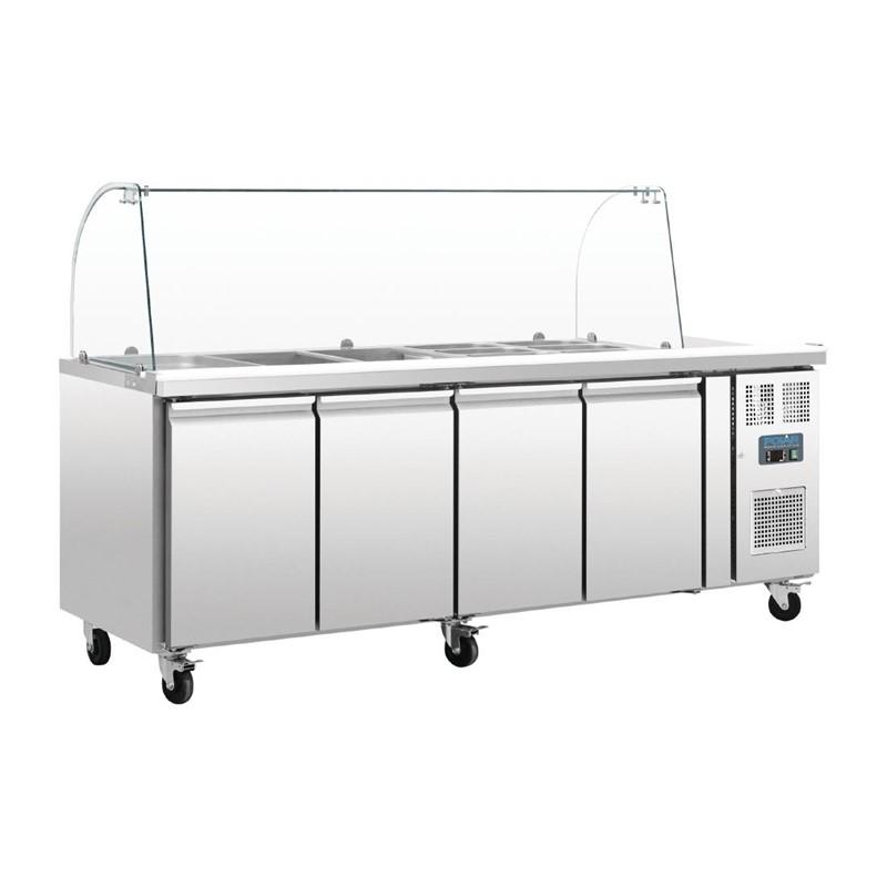 Comptoir de préparation réfrigéré GN avec pare-haleine 4 portes