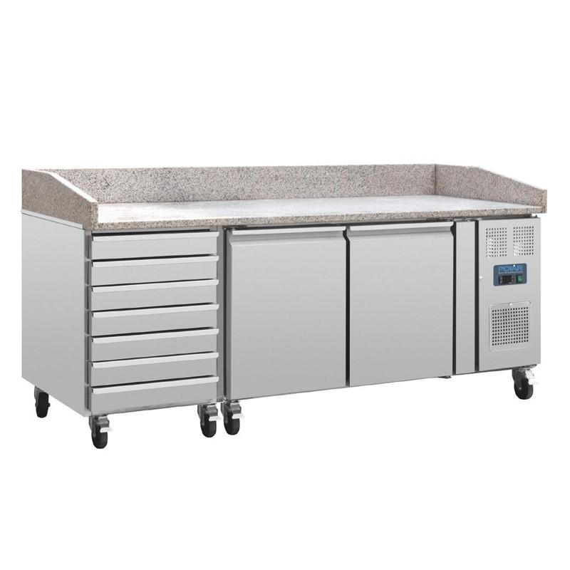 Comptoir à pizza dessus marbre 2 portes 7 tiroirs à pâtons compresseur latéral