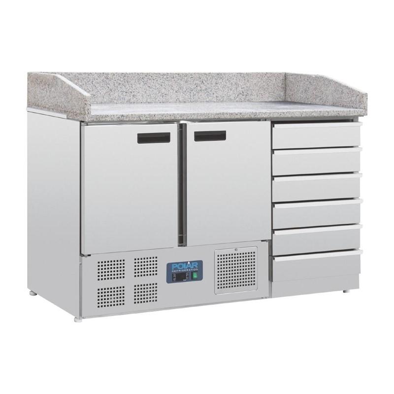 Comptoir à pizza dessus marbre 2 portes 6 tiroirs à pâtons compresseur inférieur