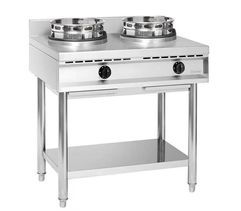Cuisinière à wok 2 brûleurs 900x600x960(h)mm