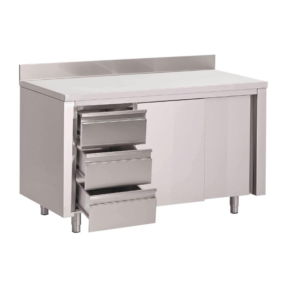 Table armoire inox avec dosseret 3 tiroirs à gauche et portes coulissantes Gastro M