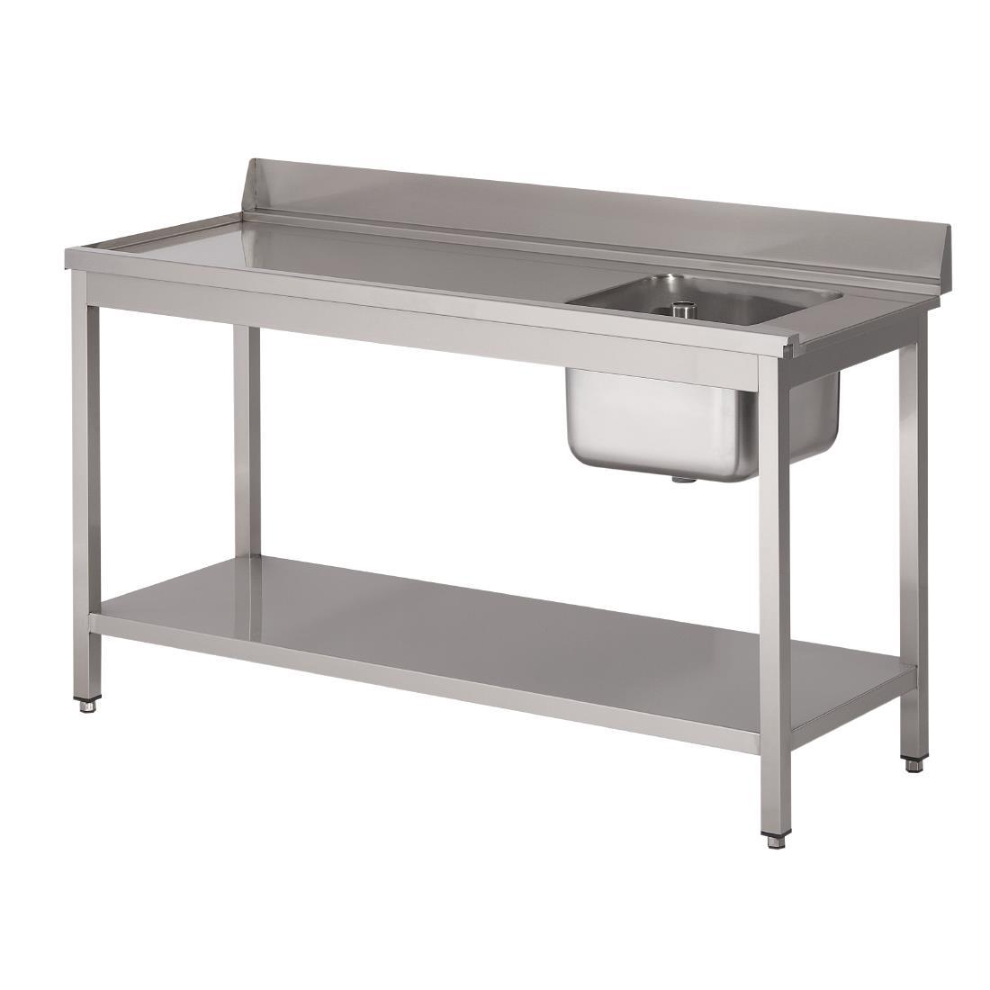 Table d\'entrée lave-vaisselle inox avec bac à droite dosseret et tablette inférieure Gastro M 850x1400x700mm