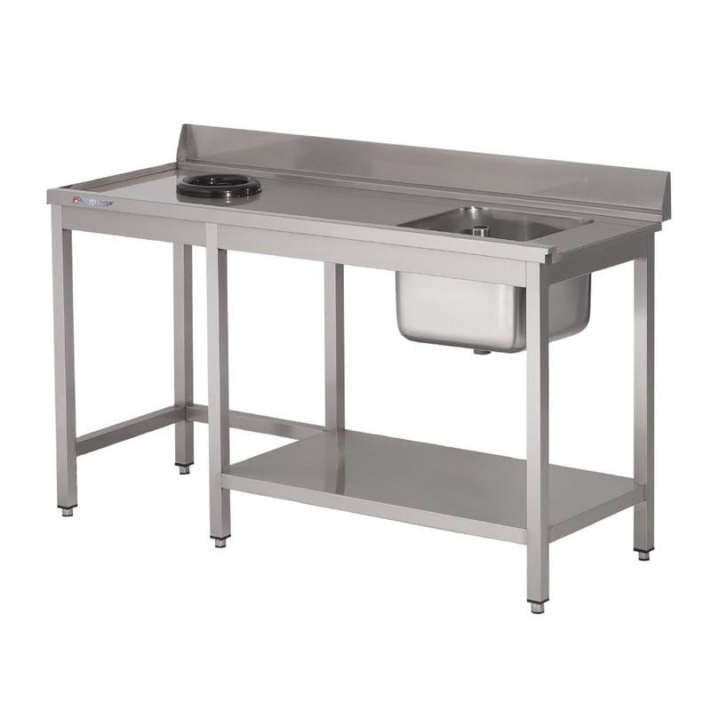 Table d\'entrée lave-vaisselle inox avec bac à droite TVO dosseret et tablette inférieure Gastro M 850x1000x700mm