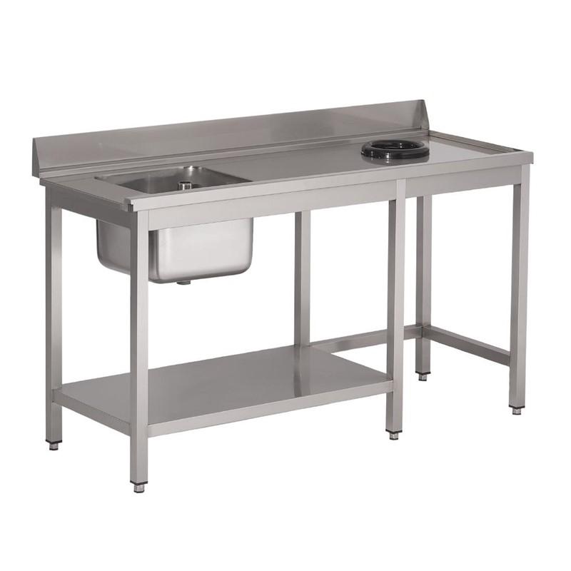 Table d\'entrée lave-vaisselle inox avec bac à gauche TVO dosseret et tablette inférieure Gastro M 850x1400x700mm