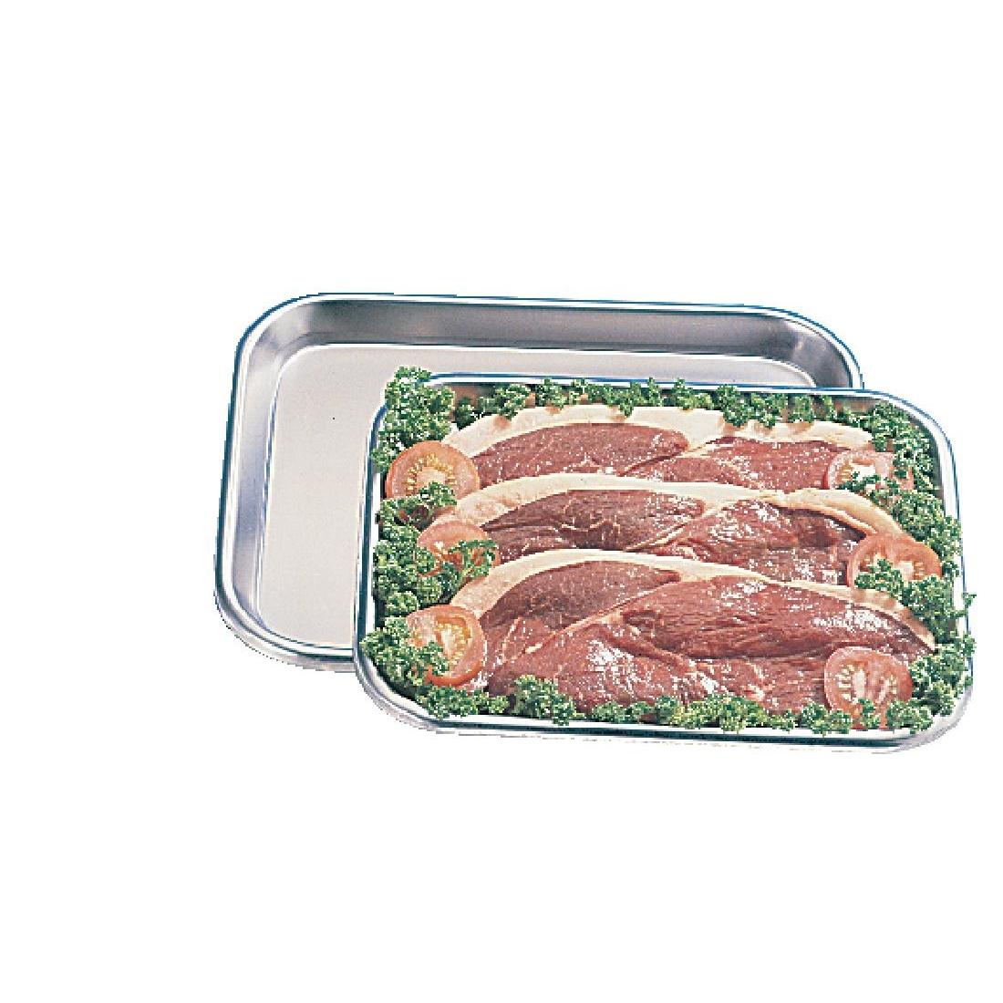 Plateau à viande inox 32 x 25cm