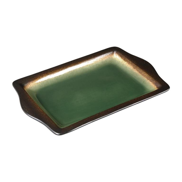 Plateaux à tapas rectangulaire Nomi vert 283mm par 6
