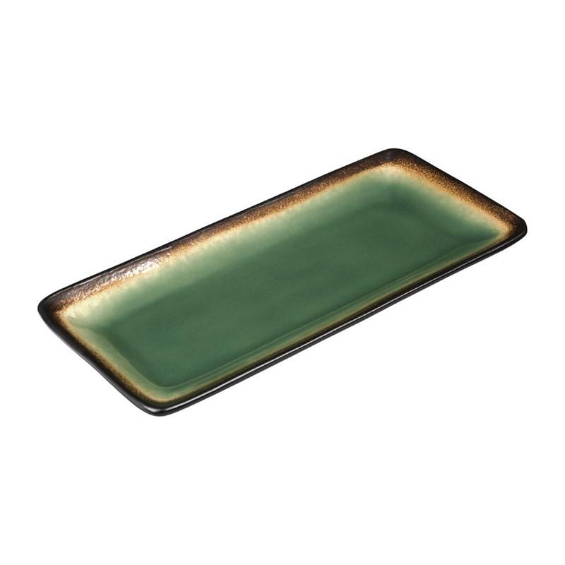 Assiettes à tapas rectangulaires Nomi vertes 245mm par 6