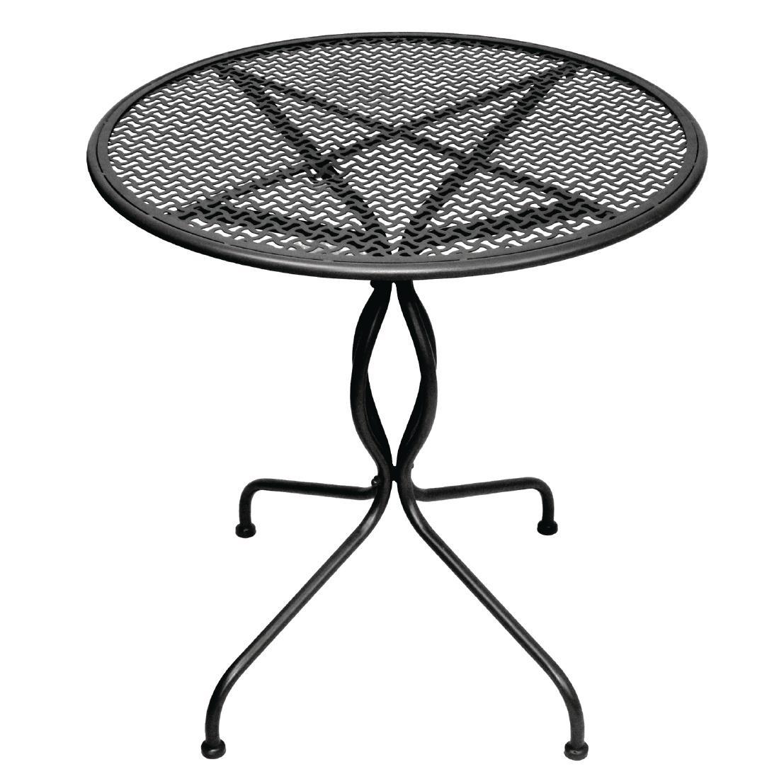 Table de patio classique en acier noire 700mm
