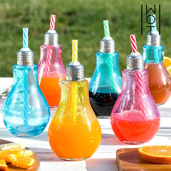 Verres Ampoule Colorés avec Pailles Wagon Trend 250 ml (lot de 6)