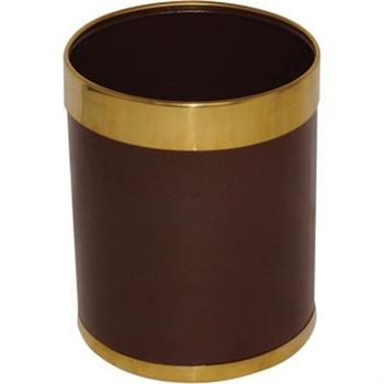Corbeille à papier Marron et bagues dorées.