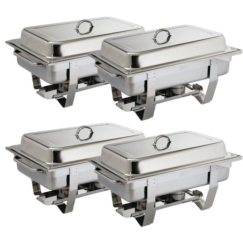 Lot de 4 Chafing Dish professionnel GN 1/1 inox