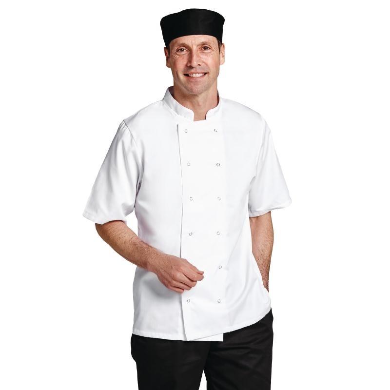 Veste chef manches courtes blanche