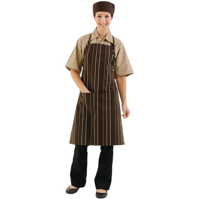 Tablier à bavette rayures marron chocolat et crème